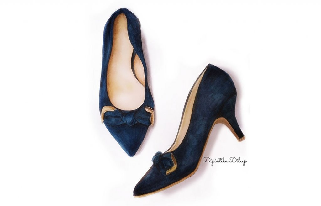 Fashion Shoes Watercolor Illustration by Dipintika Dileep