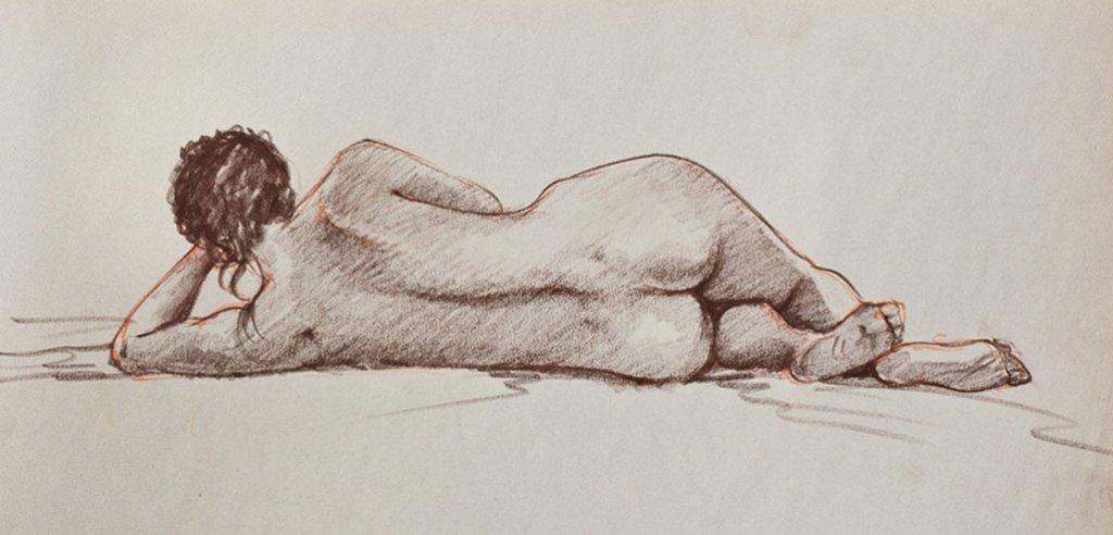 Nude woman reclining drawing by Rafael DeSoto Jr