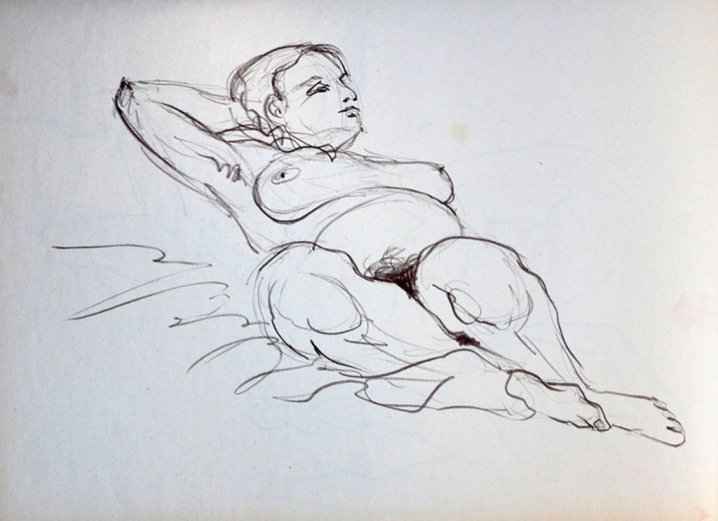 Reclining Nude Gesture Drawing by by Rafael DeSoto Jr