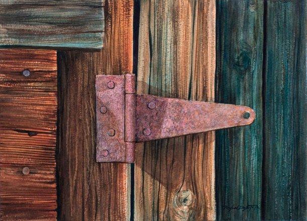 Rusting Wooden Door Hinge Watercolor Painting