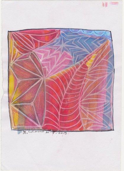Watercolour background = pelikan student grade gouache White colourpencil linework and colourpencil