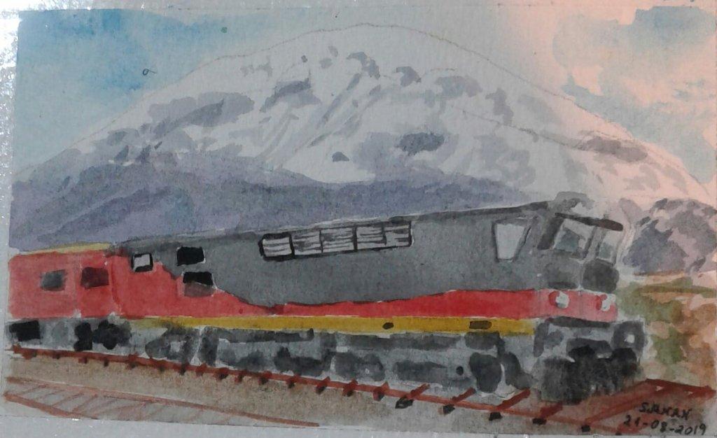 Otro de los desafios de @doodlewashed de agosto este dia les comparte el siguiente: Dia 22: trenes #