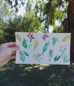 Practice with watercolor: leaves and flowers IMG_20190930_115851_740