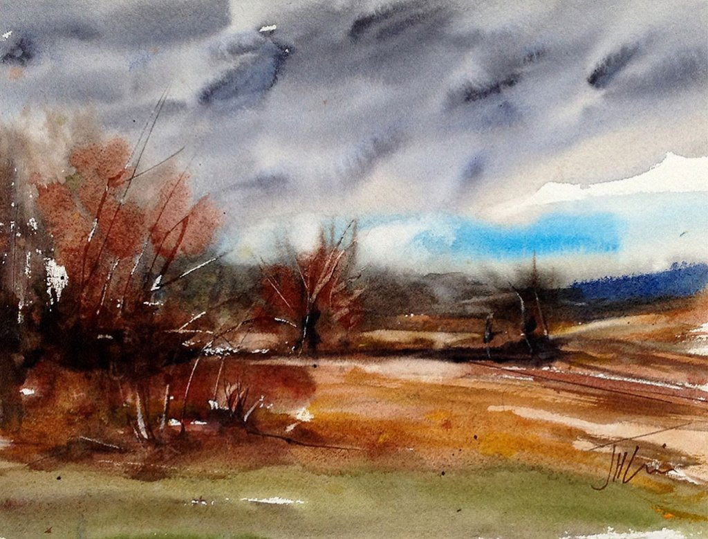 Storm Clouds On Lane Watercolor Painting by Judith Haynes Levins