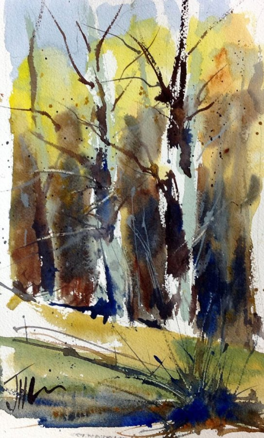 Fall Trees Watercolor Painting by Judith Haynes Levins