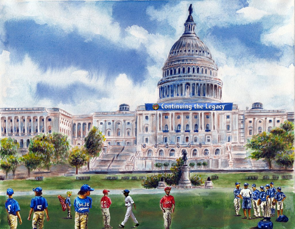 Metropolitan Jr Baseball League Monument Watercolor by Alaiyo Bradshaw