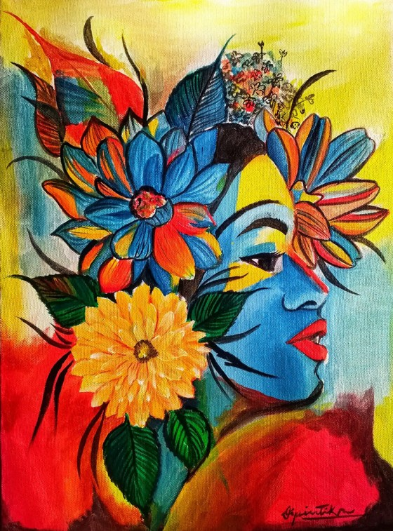 Painting of Woman by Dipintika Dileep