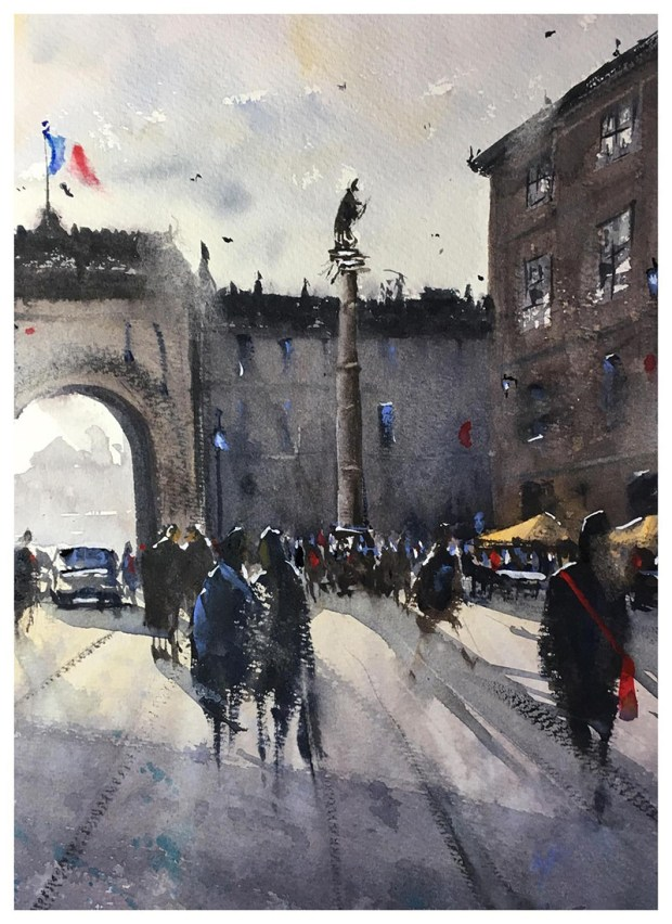 People Walking Street Watercolour Painting by Tony White
