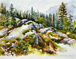 """""""Rocky Hill"""" Watercolor on Mineral Paper Rocky Hill, watermark"""