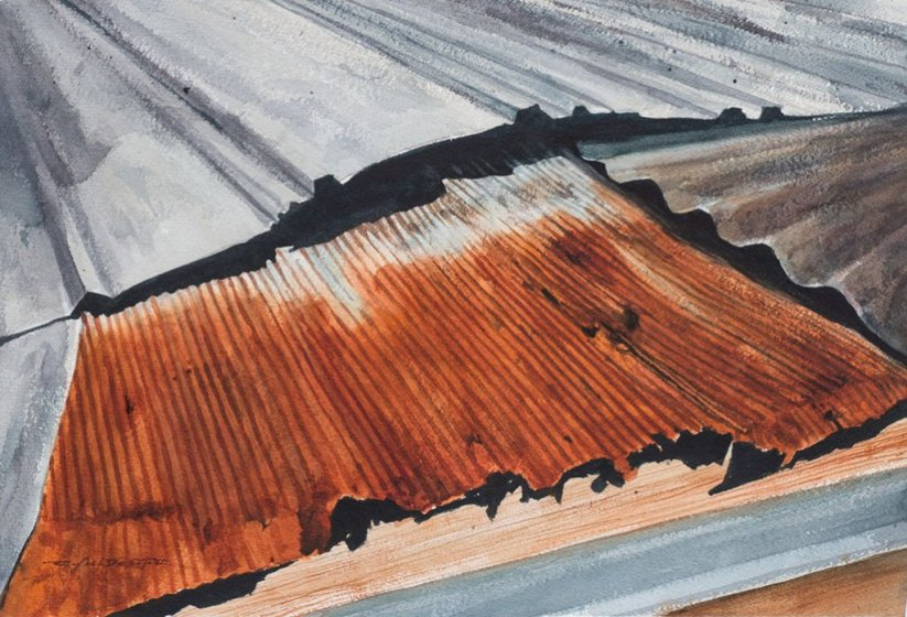 Rusty Roof Perspective Watercolor Painting
