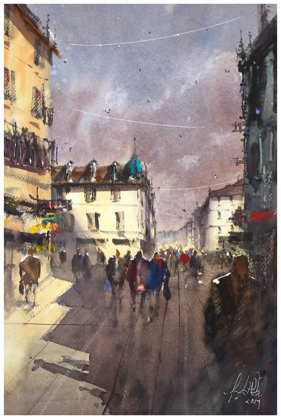 Street Sun Lighting Watercolour Painting by Tony White