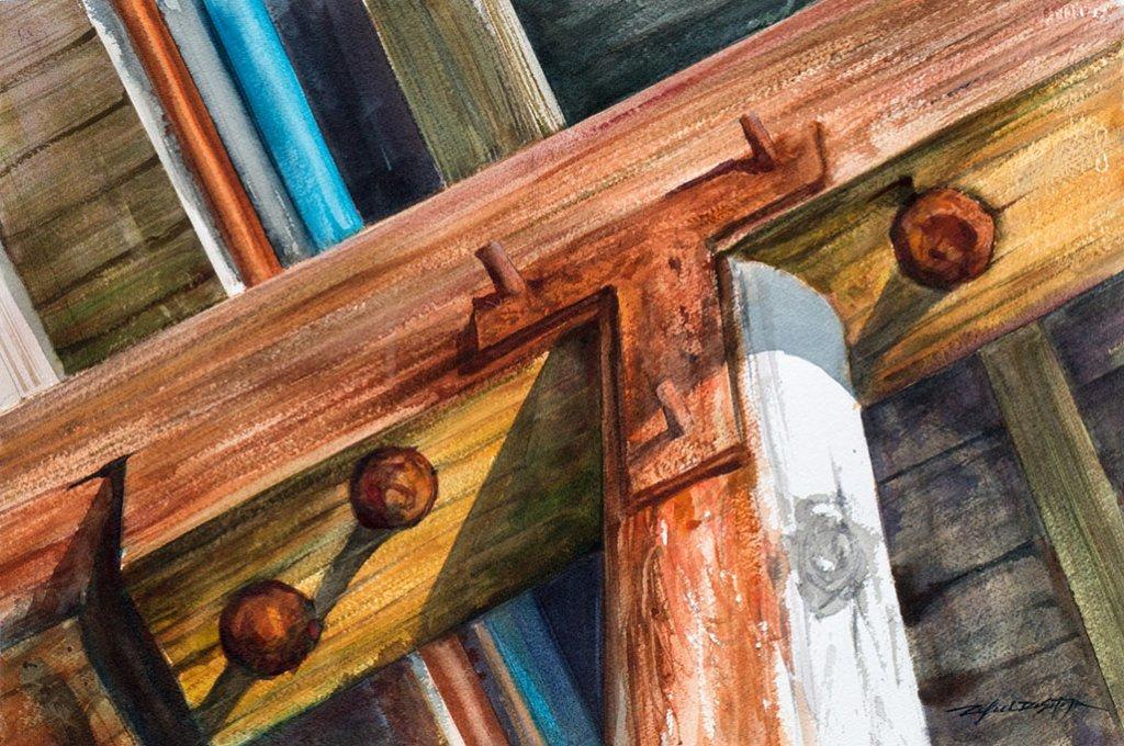Under the Pier Watercolor by Rafael DeSoto Jr