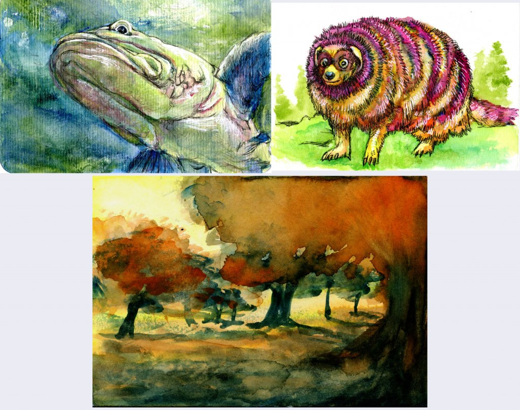 Various watercolor paintings of animals and landscapes