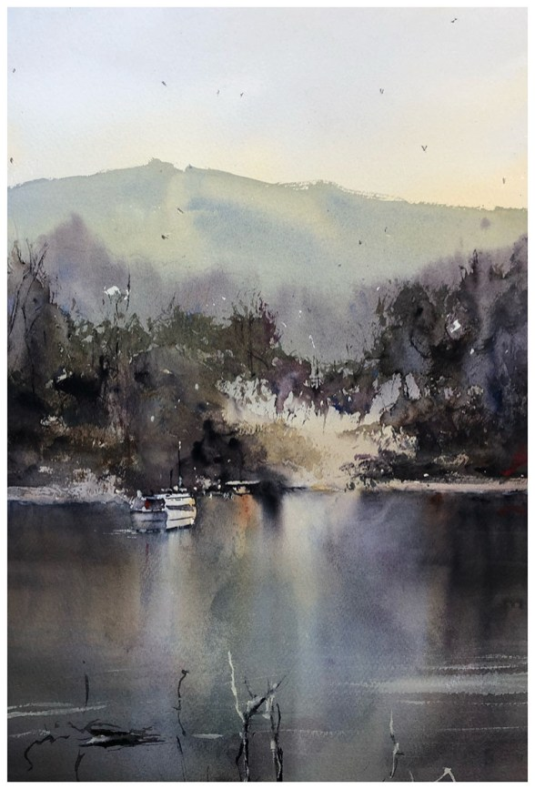 Water Reflections Watercolor Painting by Tony White