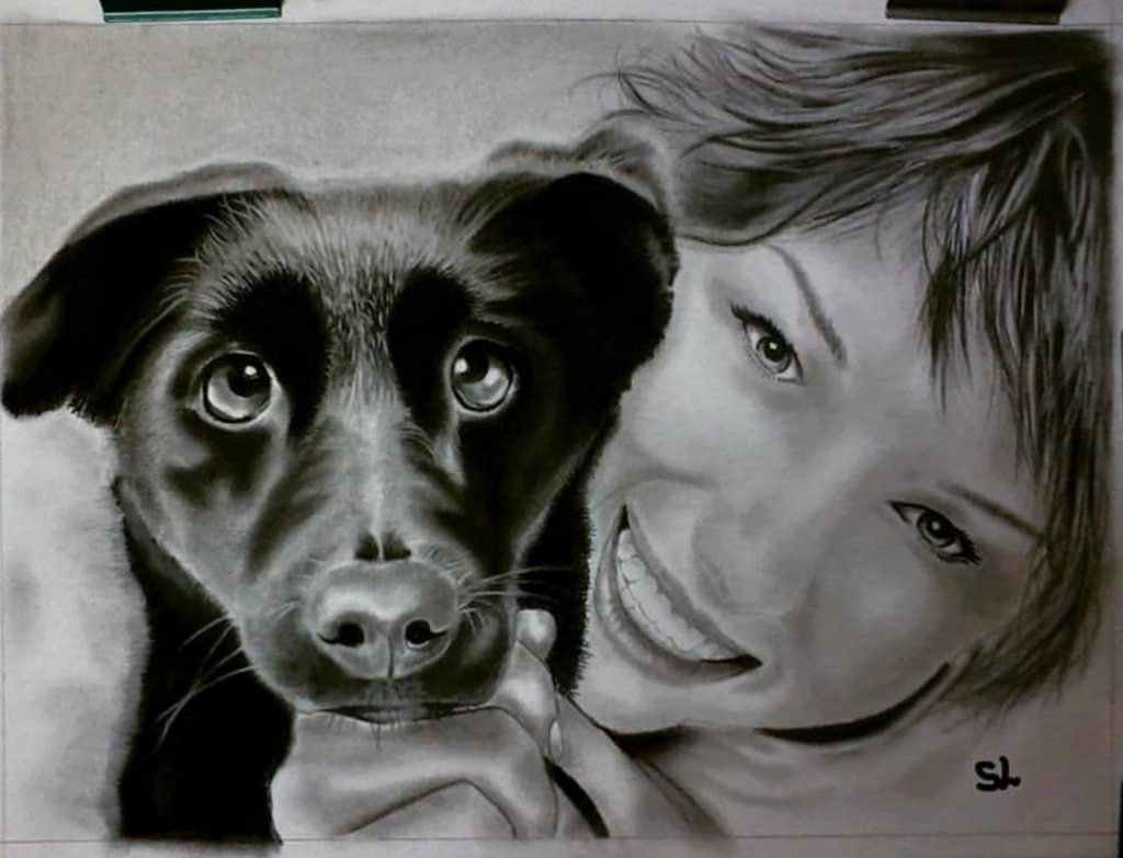 Woman With Dog Portrait Stephanie Louise