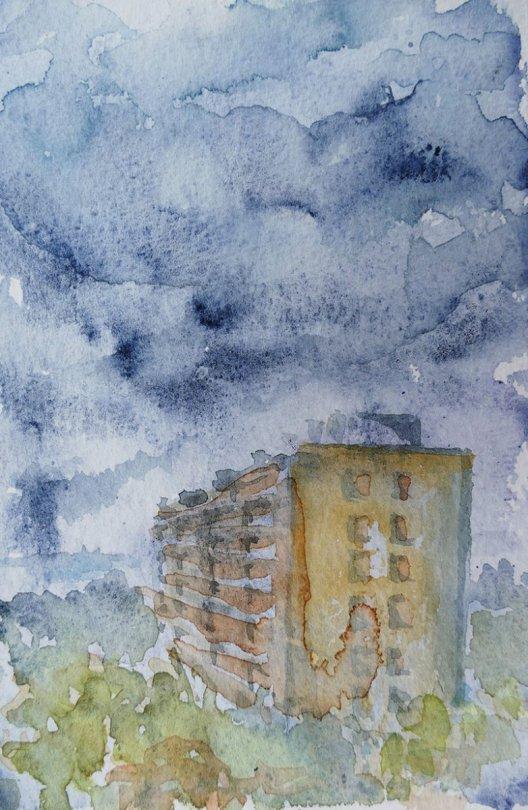 höghus building watercolour painting by Ilse Hviid