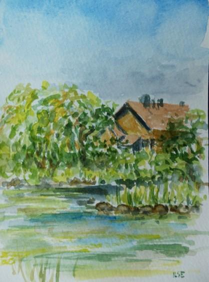 parken watercolour painting by Ilse Hviid