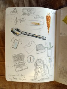 Today's sketch, a spoon. And some scratching in the sketchbook…I really wanted to start