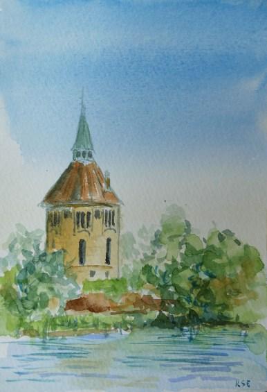 vattentornet watercolour painting by Ilse Hviid