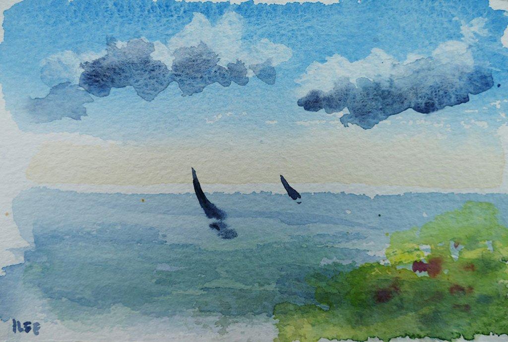 ystad watercolour painting by Ilse Hviid