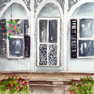 10/9/19 Porch I visited Chautauqua NY a few years ago and loved seeing the old houses and the porche