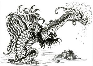 Reptile Dragon for #Inktober2019 #ZebraPenUS #ZensationsChallenge #DoodlewashOctober2019 #Hahnemühl