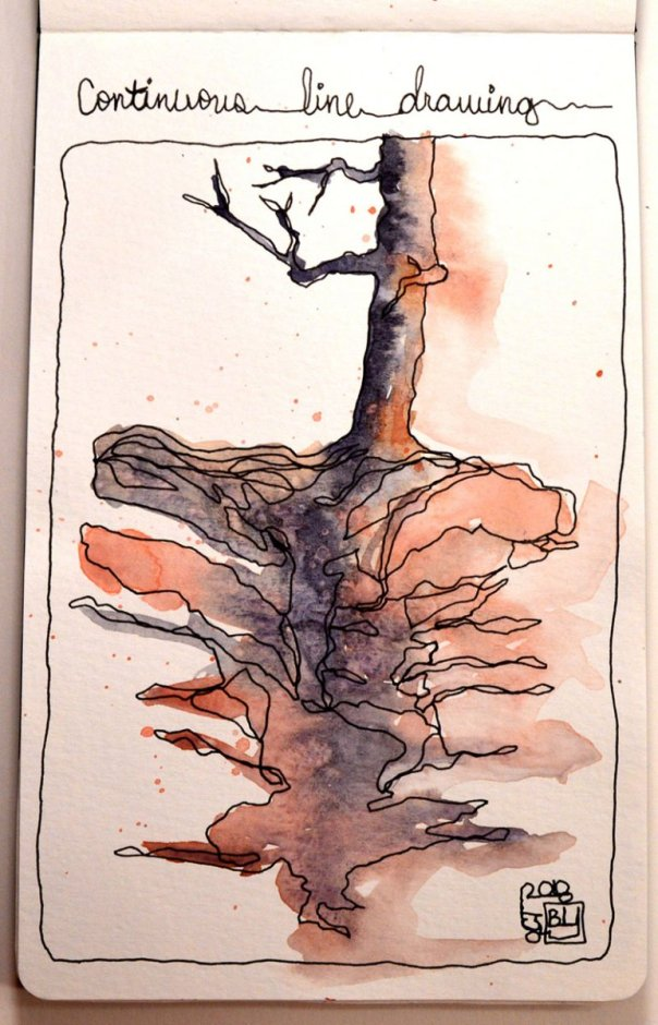 Continuous Line Tree & Roots Watercolor Journal