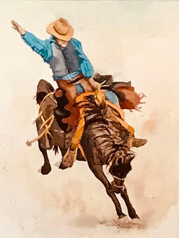 Cowboy Horse watercolor Brenda Cunningham