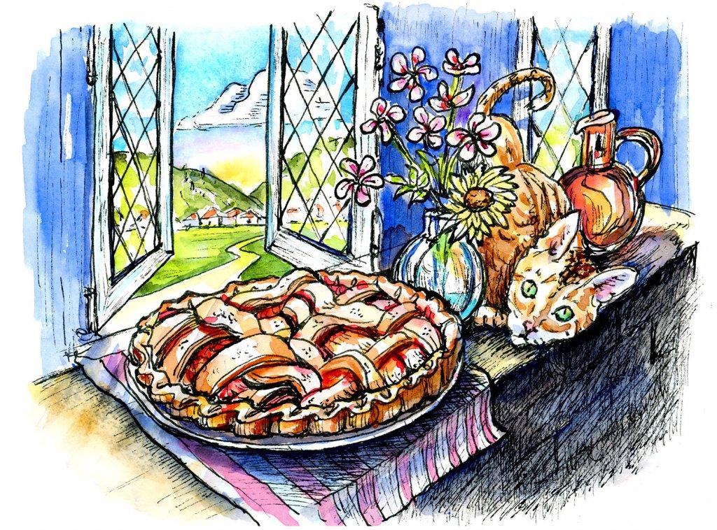 Apple Pie Cooling Window Cat Watercolor Inktober Illustration