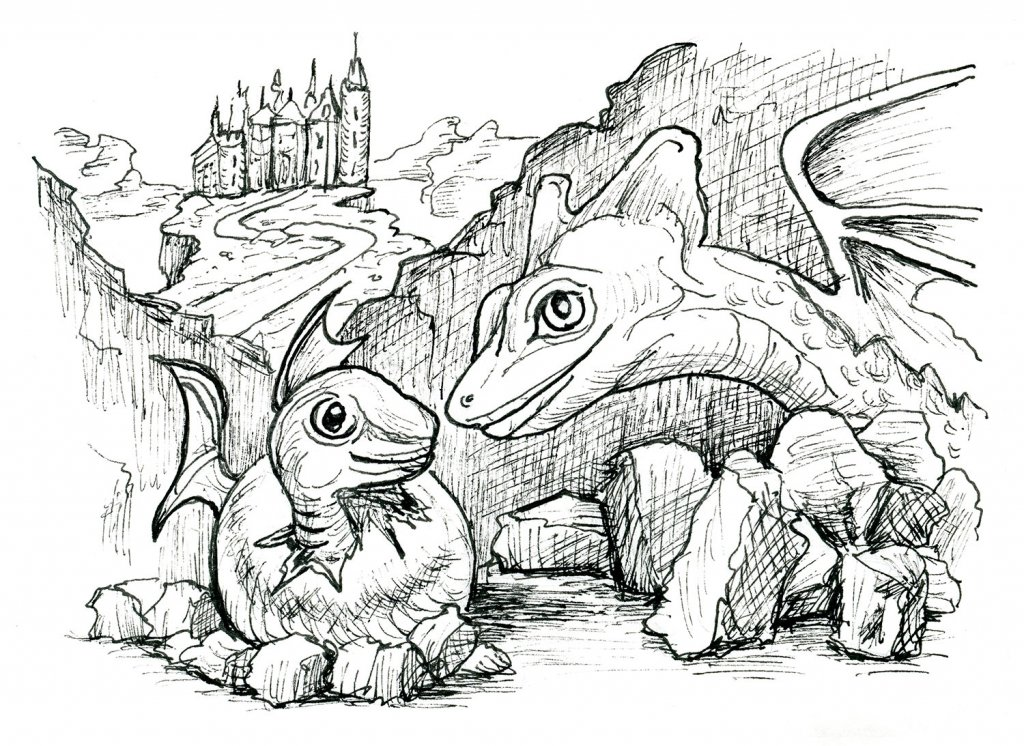Dragon Baby And Mother Inktober 2019 Illustration