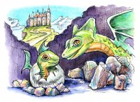 Dragon Baby And Mother Watercolor Illustration