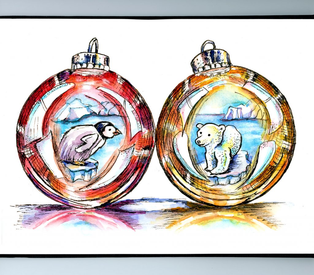 Penguin Polar Bear Christmas Holiday Ornaments Watercolor Illustration Sketchbook Detail