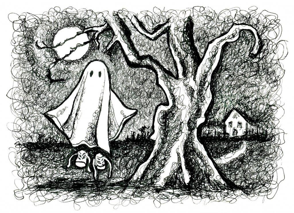 Day 22 - Little Ghost Moonlight Tree Scene Inktober 2019 Illustration__