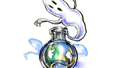 Ghost Potion In A Bottle Watercolor Illustration