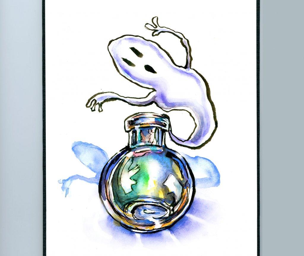Ghost Potion In A Bottle Watercolor Illustration Sketchbook Detail