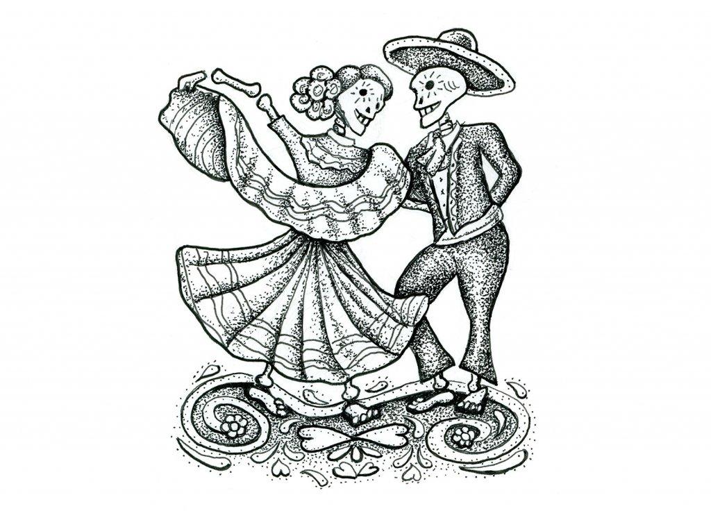 Day 27 - Dia De Los Muertos Day Of The Dead Dancing Skeletons Inktober 2019 Illustration