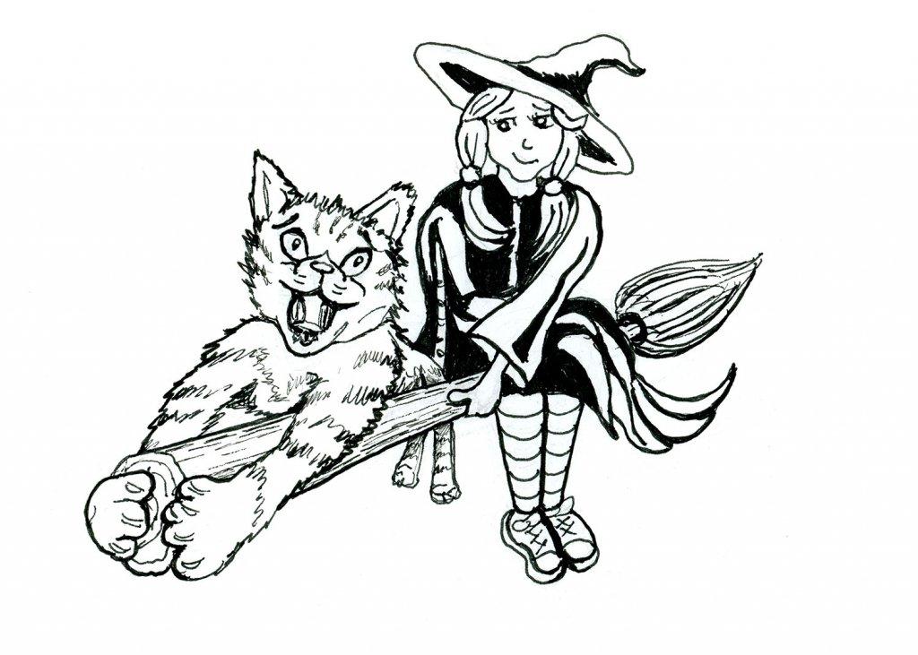 Little Worst Witch Tabby Cat Inktober 2019 Illustration