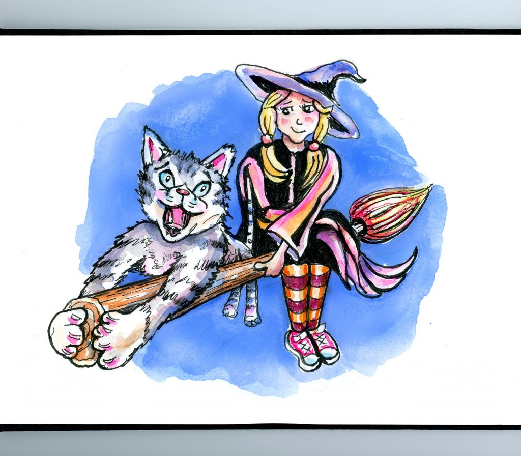 Little Worst Witch Tabby Cat Watercolor Illustration Sketchbook Detail
