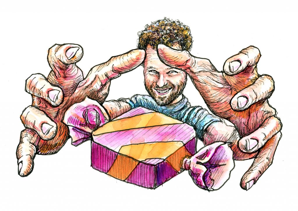 Hands Foreshortening Reaching For Candy Watercolor Illustration