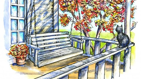 Front Porch Swing Inktober Watercolor Illustration