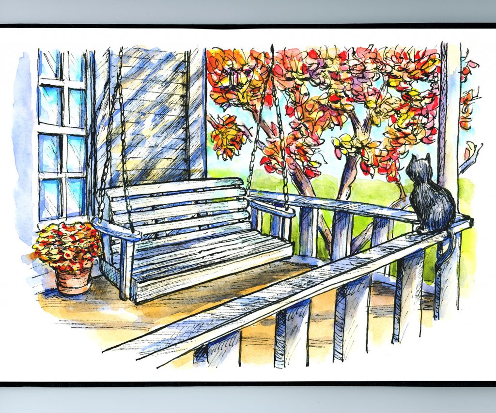 Front Porch Swing Watercolor Illustration Sketchbook Detail