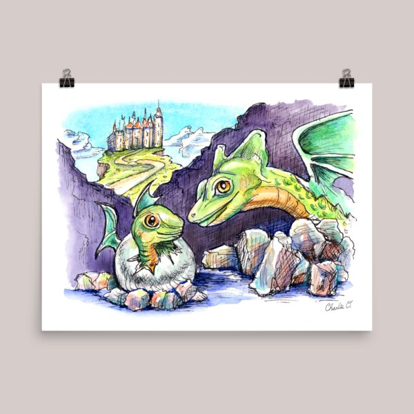 Dragon Baby And Mother Watercolor Print