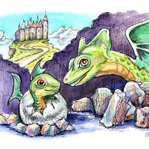 Dragon Baby Watercolor Print Detail