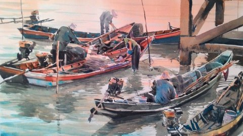 FISHERMAN FROM THE SOUTH 1 watercolour panting by Abey Zoul