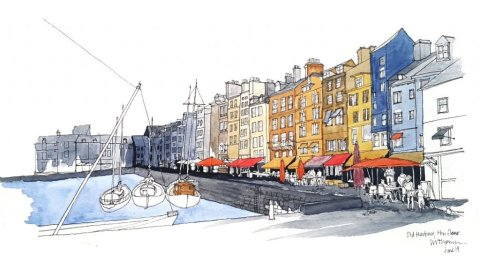 Honfleur Nice France Watercolor Illustration by Ian Thomson