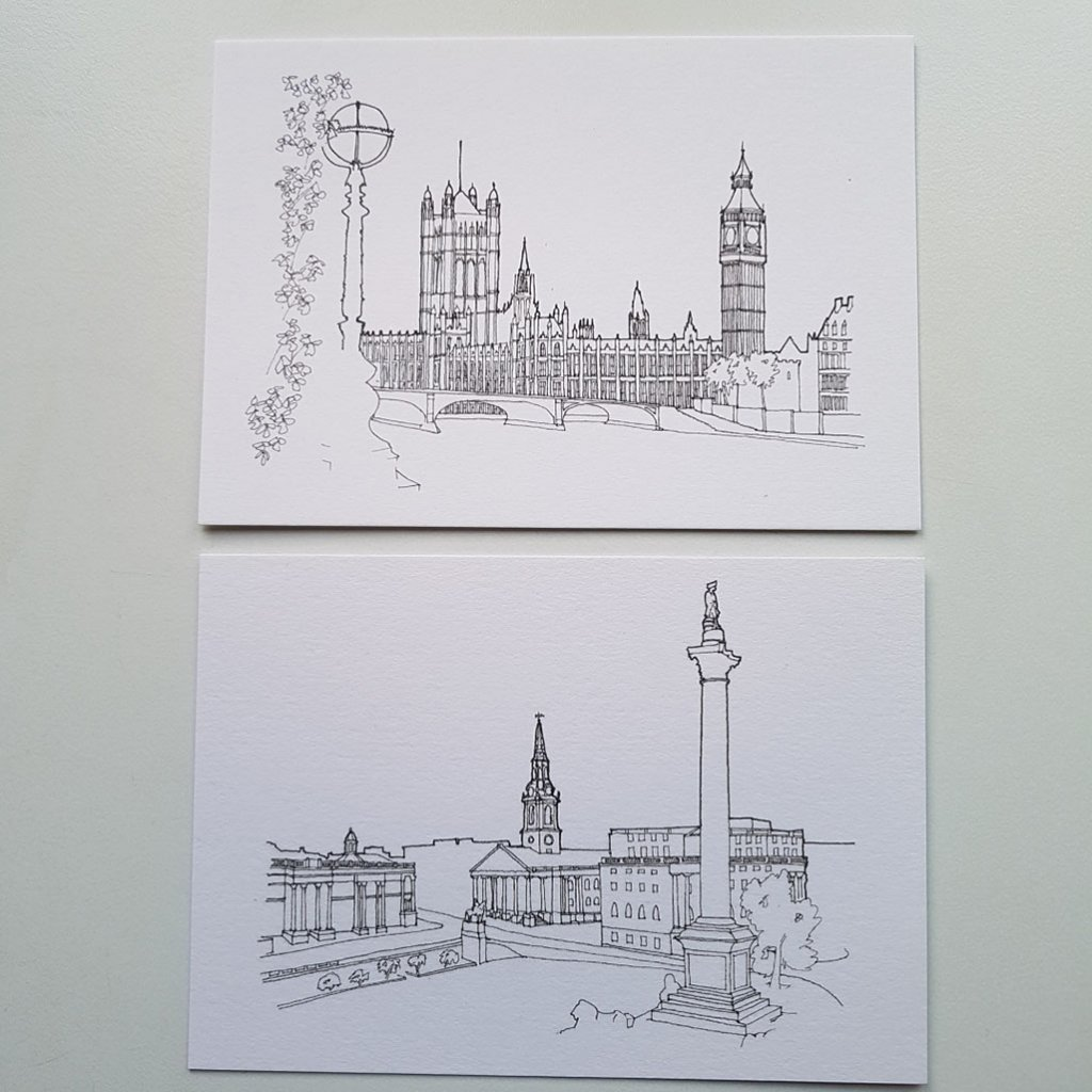 Houses of Parliament Nelsons Column Drawing Ian Thomson