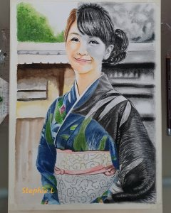 Portrait completed using graphite pencils and watercolour. Title … Dainty Sakura IMG_20191009_