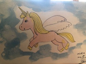 My first hand drawn and painted unicorn 🙂 IMG_3718