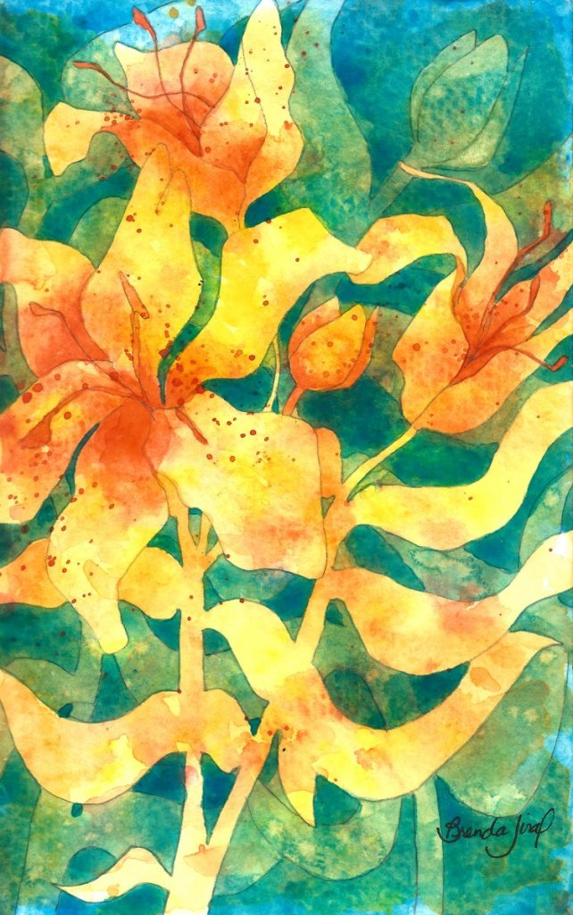 """Lilies 2: Watercolor and pencil in artist's journal Another sketch: working out the """"pla"""