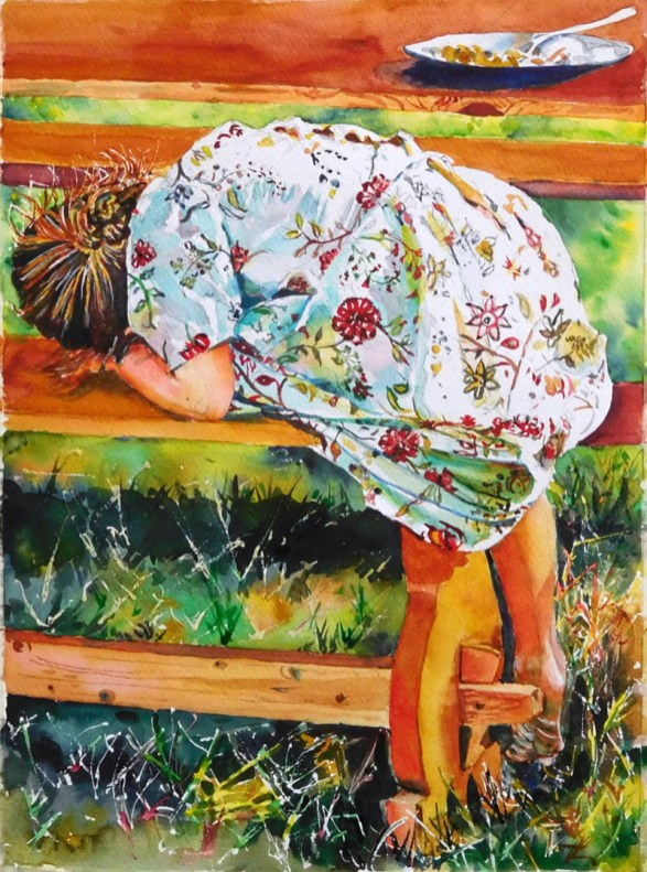 Little Girl Watercolor Painting Kathleen M Ward